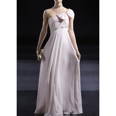 Custom One Shoulder Floor Length Chiffon Evening/ Prom Dresses