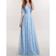 Elegant Floor Length Lace Satin Evening Dresses with Short Sleeves