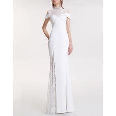 2017 Style Mandarin Collar Floor Length Satin Lace Evening Dresses