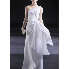 Sexy One Shoulder Floor Length Chiffon Evening/ Prom Dresses