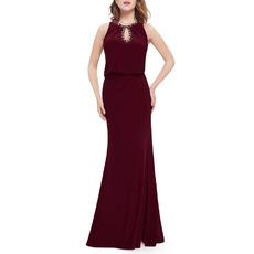 Affordable Sheath/ Column Floor Length Chiffon Evening Dresses