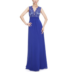 Discount V-Neck Floor Length Chiffon Tulle Applique Evening Dresses