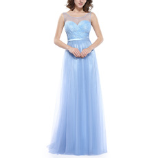 Inexpensive Sleeveless Floor Length Chiffon Tulle Evening Dresses