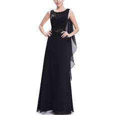 Custom Sleeveless Floor Length Chiffon Black Evening/ Prom Dresses