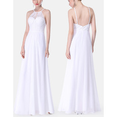 Elegant Spaghetti Straps Floor Length Lace & Chiffon Evening Dresses