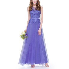 Custom A-Line Floor Length Tulle & Lace Two-Piece Evening Dresses