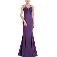 Affordable Mermaid Sleeveless Floor Length Satin Evening Dresses
