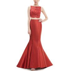 2018 New Mermaid Sleeveless Satin Lace Two-Piece Evening Dresses