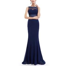 Custom Sheath Sleeveless Floor Length Chiffon Evening Dresses