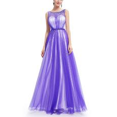 2018 New Style Sleeveless Floor Length Satin Tulle Evening Dresses