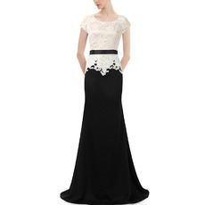 Elegant Lace Chiffon Two-Piece Evening Dresses with Short Sleeves
