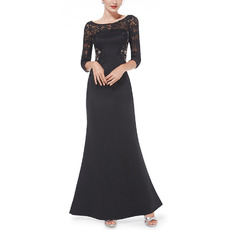 2018 New Satin Lace Black Evening Dresses with 3/4 Long Sleeves