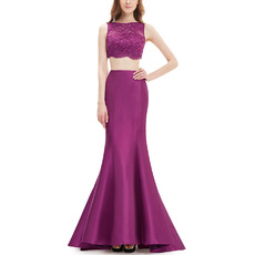 2018 New Trumpet Floor Length Lace & Satin Two-Piece Evening Dresses