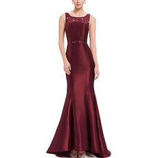 Discount Trumpet Sleeveless Floor Length Satin Evening/ Prom Dresses