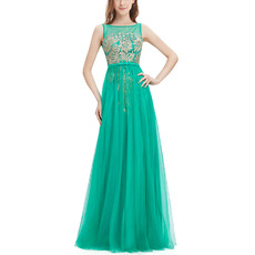 Custom A-Line Sleeveless Floor Length Tulle Embroidery Evening Dresses