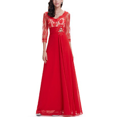 Inexpensive Long Lace Chiffon Evening Dresses with 3/4 Long Sleeves