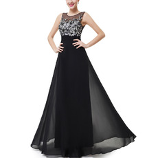 Discount Floor Length Chiffon Evening/ Prom Dresses with Applique