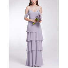 Affordable Spaghetti Straps Long Chiffon Layered Skirt Evening Dresses