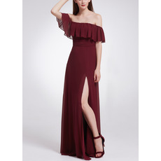 Elegant Off-the-shoulder Floor Length Chiffon Evening Dresses