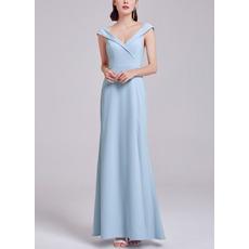 2018 New Style V-Neck Floor Length Satin Evening Dress with Slit