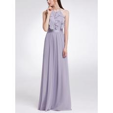 Custom Halter Sleeveless Floor Length Chiffon Ruffle Evening Dresses