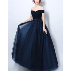 Custom Off-the-shoulder Floor Length Satin Tulle Evening Dresses
