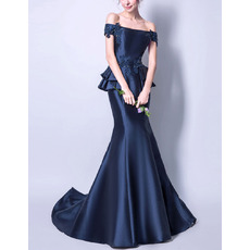 2018 New Style Off-the-shoulder Floor Length Satin Evening Dresses