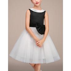 Adorable Lapel Knee Length Black & White Little Girls Party Dresses