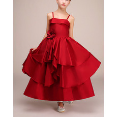 Custom Spaghetti Straps Ankle Length Satin Flower Girl Dresses