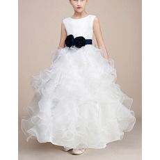 Discount Ankle Length Ruffle Skirt Flower Girl Dresses with Sashes