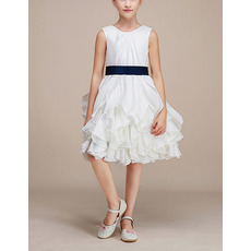 Stunning Knee Length Ruffle Skirt Flower Girl Dresses with Sashes