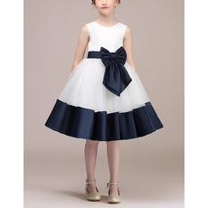 Custom A-Line Knee Length Satin Flower Girl Dresses with Belts