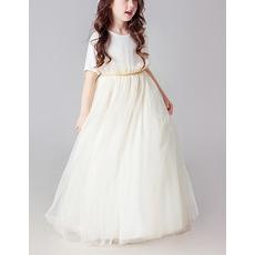 Lovely Floor Length Organza Flower Girl Dresses with Short Sleeves