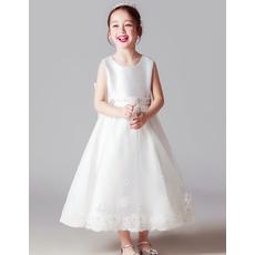 2018 New Style Sleeveless Tea Length Satin Flower Girl Dresses