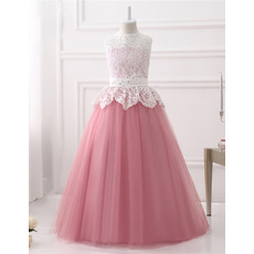 Adorable Ball Gown Sleeveless Floor Length Lace Flower Girl Dresses