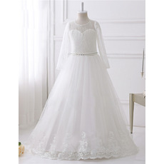 Discount Floor Length Lace Flower Girl Dresses with Long Sleeves