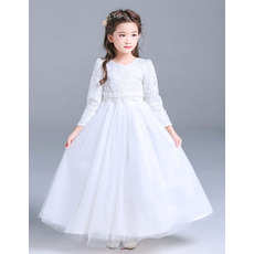 Affordable Floor Length First Communion Dresses with Long Sleeves