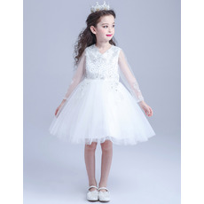 Adorable A-Line Short Organza Flower Girl Dresses with Long Sleeves
