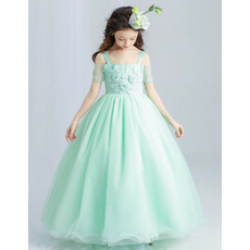 Custom Spaghetti Straps Short Sleeves Floor Length Flower Girl Dresses