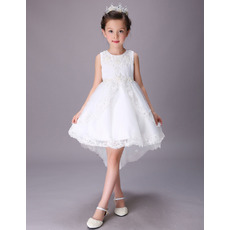Stunning A-Line Sleeveless High-Low Short Satin Flower Girl Dresses