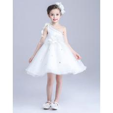 2018 New A-Line One Shoulder Sleeveless Short Satin Flower Girl Dress