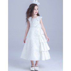 Inexpensive Lapel Tea Length Satin Flower Girl/ First Communion Dress