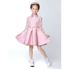 Adorable Short Satin Lace Flower Girl Dresses with Long Sleeves