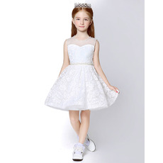 2018 Style A-Line Sleeveless Mini/ Short Lace Flower Girl Dresses
