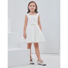 Stunning A-Line Square Sleeveless Short Satin Flower Girl Dresses