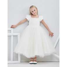 2018 New Style Tea Length Flower Girl Dresses with Bubble Sleeves