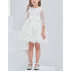 Custom Mini/ Short Flower Girl Dresses with 3/4 Long Lace Sleeves