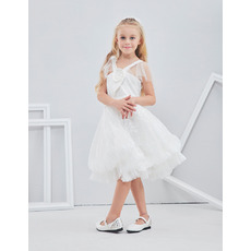 Adorable Knee Length Lace Flower Girl/ First Communion Dress with Straps