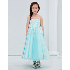Custom Tea Length Embroidery Flower Girl Dresses with Spaghetti Straps