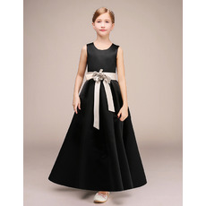 Adorable A-Line Ankle Length Satin Flower Girl Dresses with Sashes